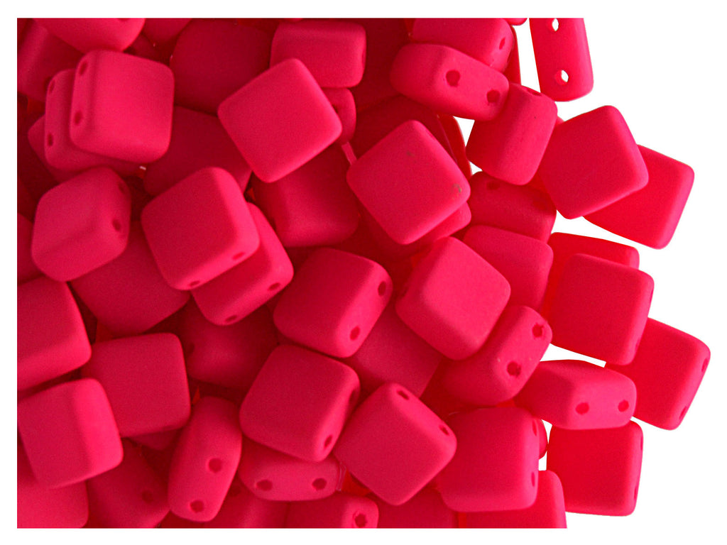 40 pcs 2-hole Tile NEON Beads, 6x6x3.2mm, Pink, Czech Glass