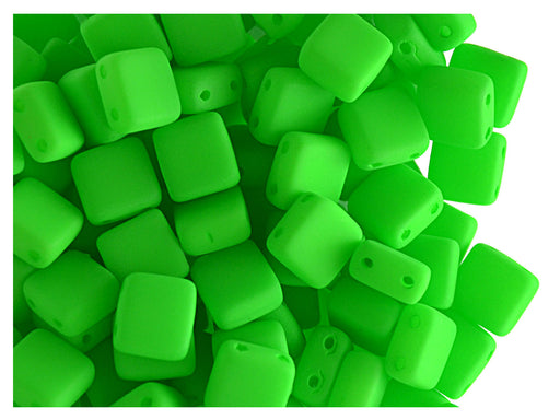 40 pcs 2-hole Tile NEON Beads, 6x6x3.2mm, Green, Czech Glass