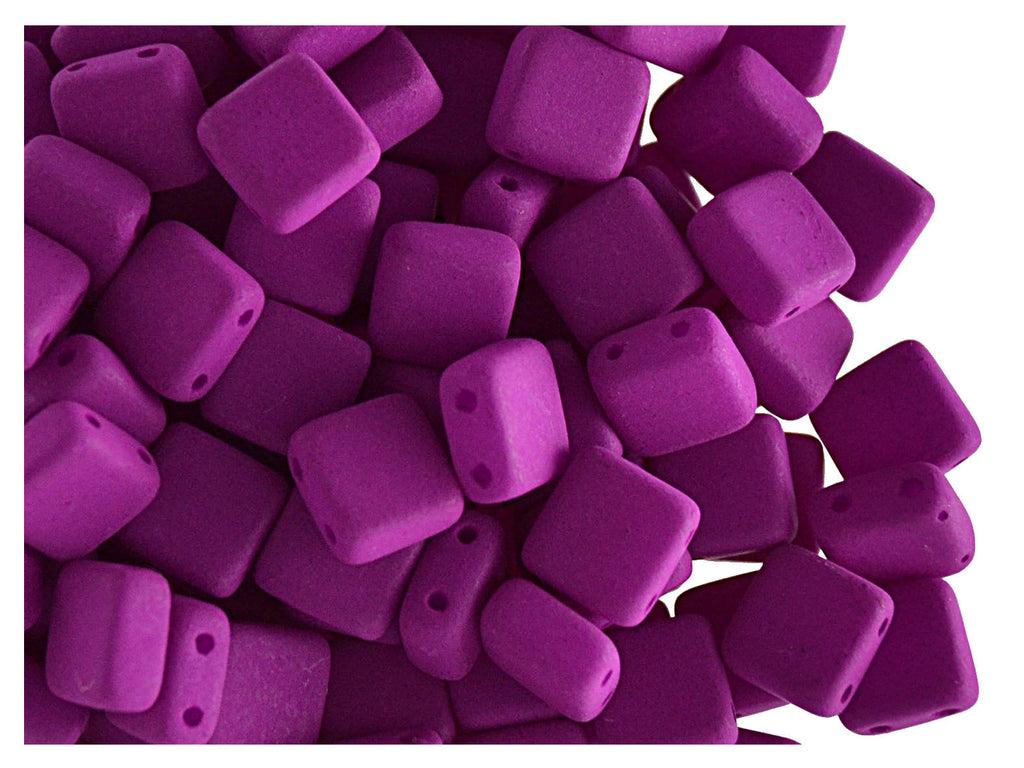 2-hole Tile NEON Beads, 6x6x3.2mm, Purple, Czech Glass