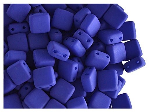 40 pcs 2-hole Tile NEON Beads, 6x6x3.2mm, Dark Blue, Czech Glass