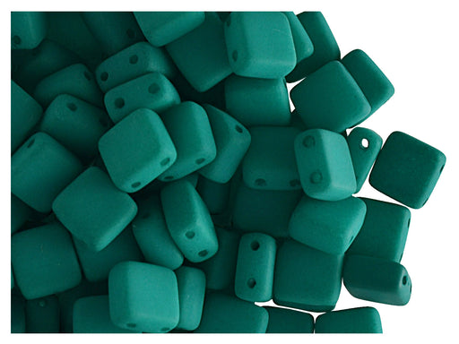 40 pcs 2-hole Tile NEON Beads, 6x6x3.2mm, Dark Green, Czech Glass
