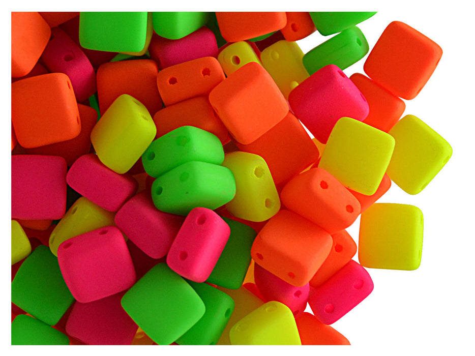 40 pcs 2-hole Tile NEON Beads, 6x6x3.2mm, Warm Mix, Czech Glass