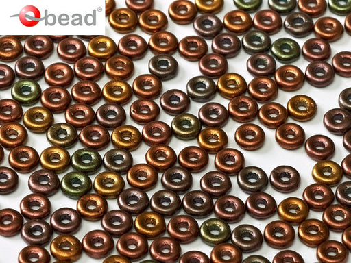 10 g O Bead® Pressed Beads, 1x4mm, Jet Purple Iris Gold, Czech Glass