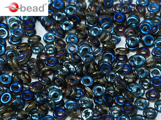 10 g O Bead® Pressed Beads, 1x4mm, Crystal Half Azuro, Czech Glass