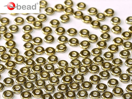 10 g O Bead® Pressed Beads, 1x4mm, Crystal Full Amber (Gold Metallic), Czech Glass