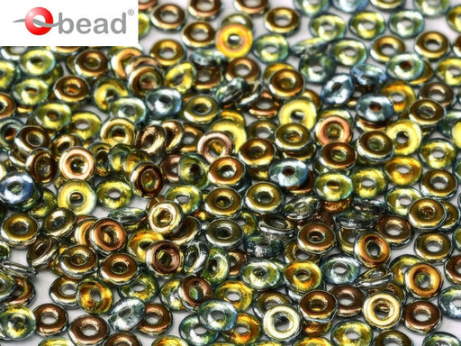 10 g O Bead® Pressed Beads, 1x4mm, Crystal Half Marea, Czech Glass