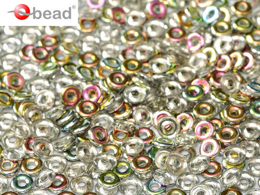 10 g O Bead® Pressed Beads, 1x4mm, Crystal Half Vitral, Czech Glass