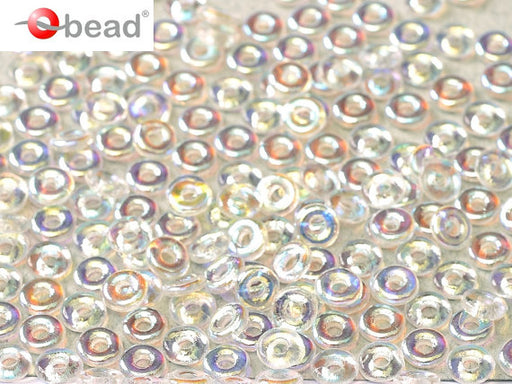 10 g O Bead® Pressed Beads, 1x4mm, Crystal Half AB, Czech Glass