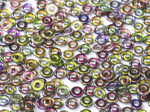 10 g O Bead® Pressed Beads, 1x4mm, Crystal Magic Orchid, Czech Glass