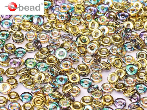 10 g O Bead® Pressed Beads, 1x4mm, Crystal Rainbow Half Golden, Czech Glass