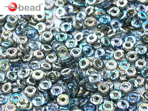 10 g O Bead® Pressed Beads, 1x4mm, Crystal Rainbow Half Graphite, Czech Glass
