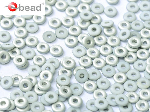 10 g O Bead® Pressed Beads, 1x4mm, Chalk White Half Labrador Matte, Czech Glass