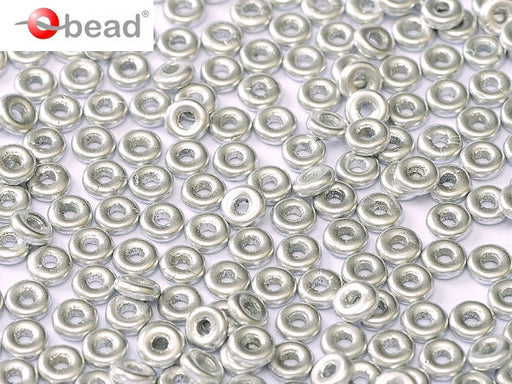 10 g O Bead® Pressed Beads, 1x4mm, Aluminum (Silver Matte), Czech Glass
