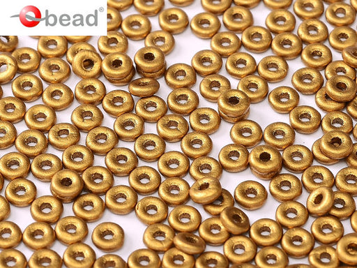 10 g O Bead® Pressed Beads, 1x4mm, Brass Gold, Czech Glass