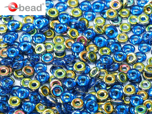 10 g O Bead® Pressed Beads, 1x4mm, Sapphire Half Vitrail, Czech Glass
