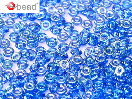 10 g O Bead® Pressed Beads, 1x4mm, Sapphire Half AB, Czech Glass