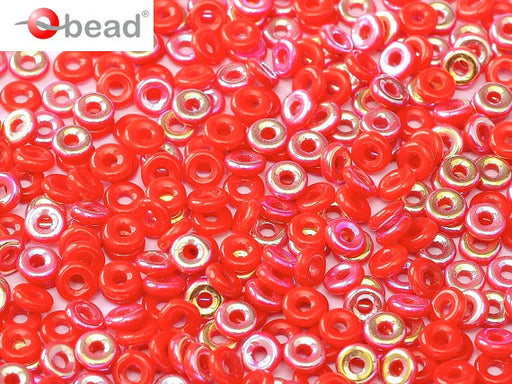 10 g O Bead® Pressed Beads, 1x4mm, Coral Red Half AB, Czech Glass