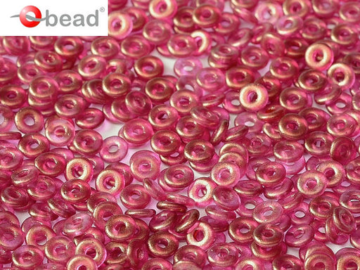 10 g O Bead® Pressed Beads, 1x4mm, Crystal Gt French Rose, Czech Glass