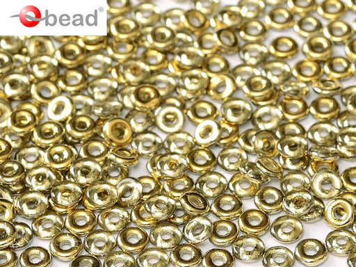 10 g O Bead® Pressed Beads, 1x4mm, Crystal Half Opaque Amber, Czech Glass