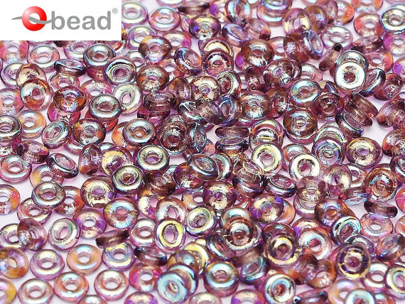 10 g O Bead® Pressed Beads, 1x4mm, Amethyst AB, Czech Glass