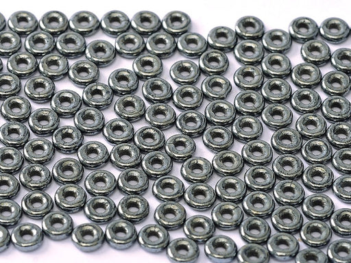 10 g O Bead® Pressed Beads, 1x4mm, Jet Hematite (Gray), Czech Glass