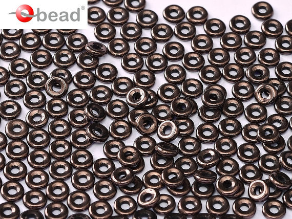10 g O Bead® Pressed Beads, 1x4mm, Jet Lila Vega Luster, Czech Glass