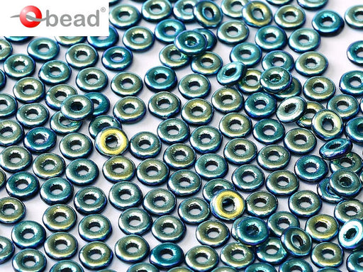 10 g O Bead® Pressed Beads, 1x4mm, Jet Full AB, Czech Glass