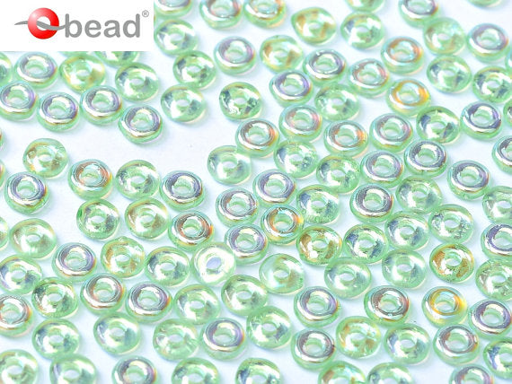 10 g O Bead® Pressed Beads, 1x4mm, Peridot AB, Czech Glass