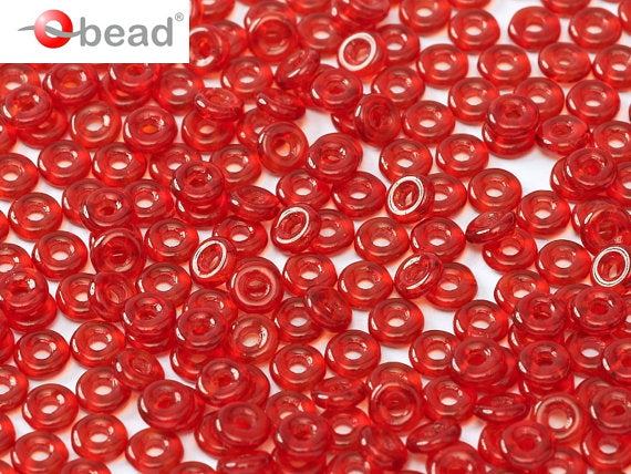 10 g O Bead® Pressed Beads, 1x4mm, Transparent Red, Czech Glass