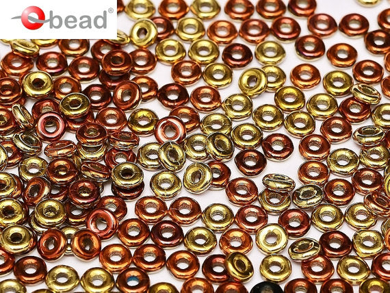 10 g O Bead® Pressed Beads, 1x4mm, Jet California Gold Rush, Czech Glass