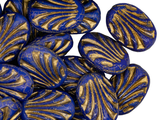 Oval with Lines 17x12 mm, Opaque Blue With Golden Lines, Czech Glass