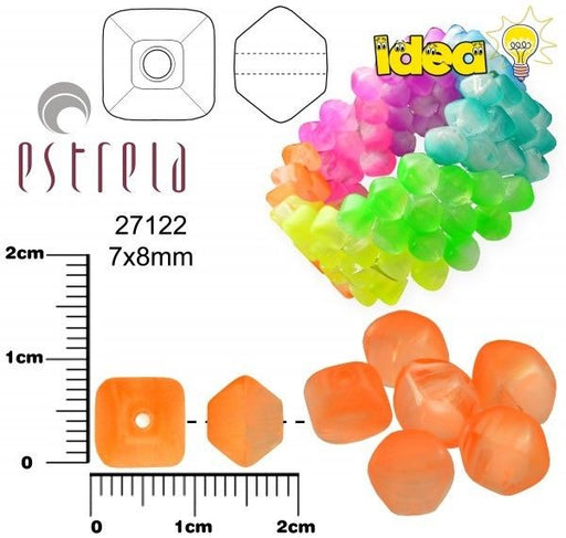 20 pcs Lucerna NEON Beads, 7x8mm, Orange, Czech Glass