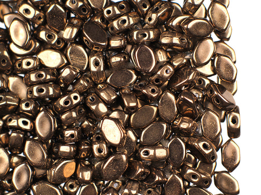 50 pcs Paros® Par Puca® 2-hole Beads, 4x7x3.3mm, Dark Gold Bronze, Czech Glass