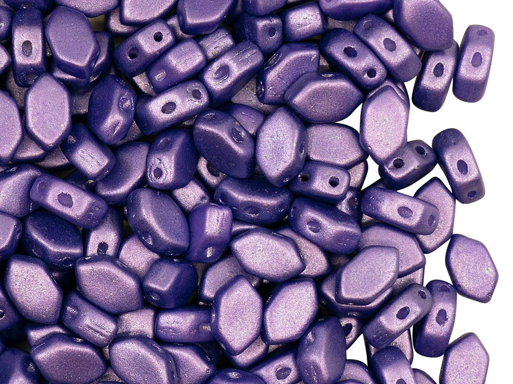 Paros® par Puca® Beads 4x7x3.3 mm, 2 Holes,  Pastel Matte Purple, Czech Glass