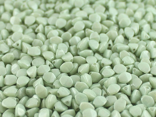 50 pcs Pinch Pressed Beads, 5x3.5mm, Opaque Light Green Ceramic Look, Czech Glass
