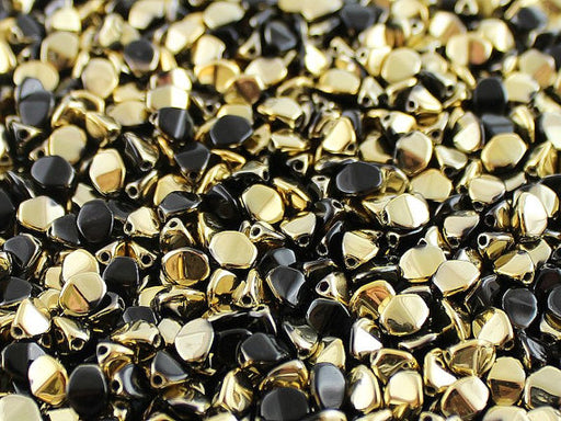 50 pcs Pinch Pressed Beads, 5x3.5mm, Jet Black Amber, Czech Glass