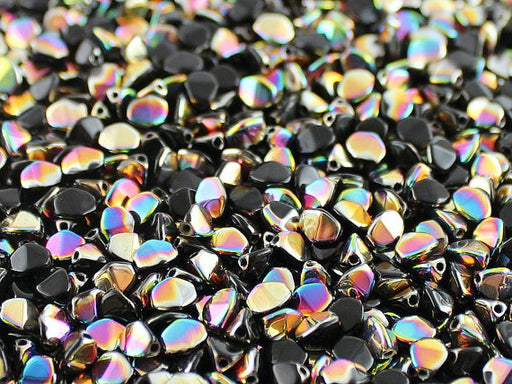 50 pcs Pinch Pressed Beads, 5x3.5mm, Jet Black Vitrail, Czech Glass