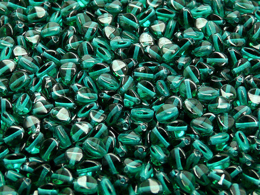 50 pcs Pinch Pressed Beads, 5x3.5mm, Emerald Transparent, Czech Glass
