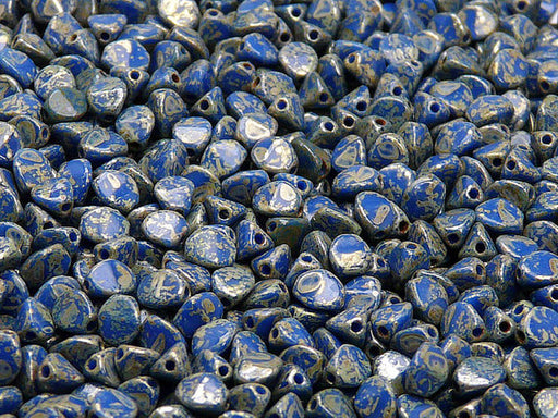 50 pcs Pinch Pressed Beads, 5x3.5mm, Opaque Blue Picasso, Czech Glass