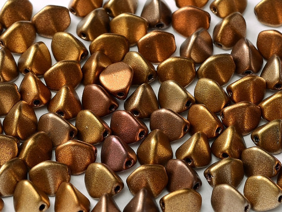 50 pcs Pinch Pressed Beads, 5x3.5mm, Mix Heavy Metal, Czech Glass