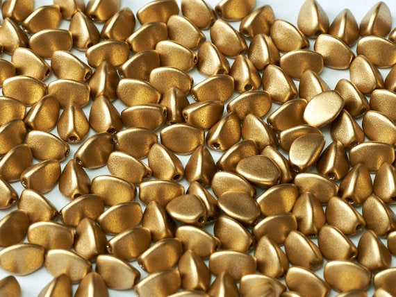 50 pcs Pinch Pressed Beads, 5x3.5mm, Aztec Gold (Crystal Bronze Pale Gold), Czech Glass