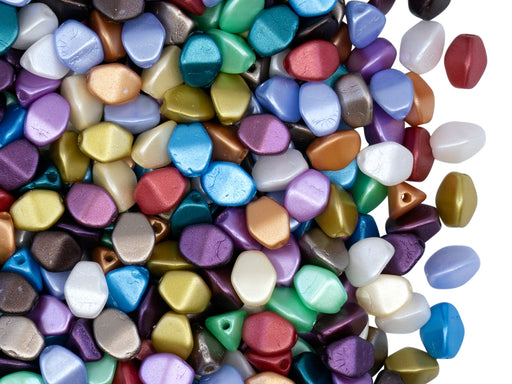 50 pcs Pinch Pressed Beads, 5x3.5mm, Pastel Mix Colors, Czech Glass
