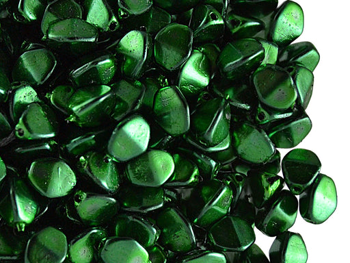 50 pcs Pinch Pressed Beads, 5x3.5mm, Emerald Metallic, Czech Glass