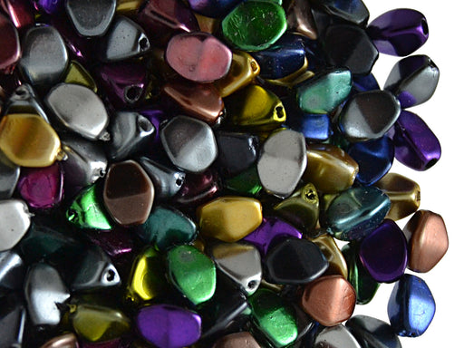 50 pcs Pinch Pressed Beads, 5x3.5mm, Mix Metallic, Czech Glass