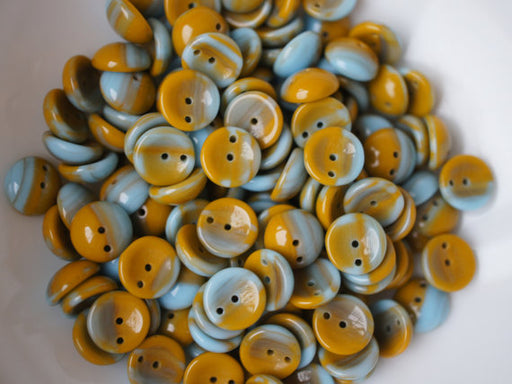 30 pcs 2-hole Piggy Pressed Beads, 4x8mm, Combi Turquoise Brown Opaque, Czech Glass