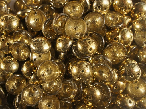 10 pcs 2-hole Piggy Pressed Beads, 4x8mm, Crystal Half Gold, Czech Glass