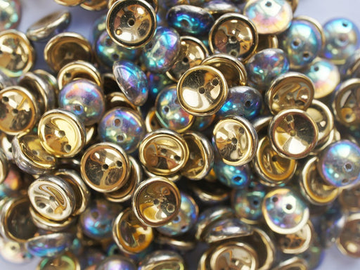 30 pcs 2-hole Piggy Pressed Beads, 4x8mm, Crystal Rainbow Gold, Czech Glass