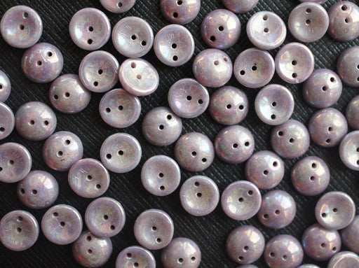 30 pcs 2-hole Piggy Pressed Beads, 4x8mm, Crystal Amethyst Luster, Czech Glass