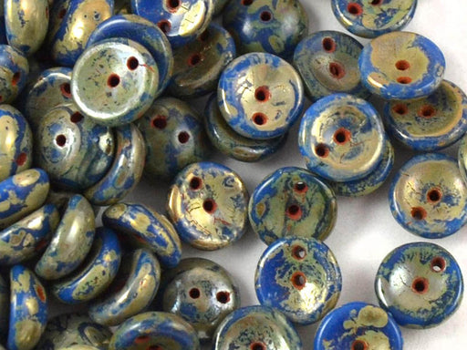 30 pcs 2-hole Piggy Pressed Beads, 4x8mm, Opaque Blue Picasso, Czech Glass