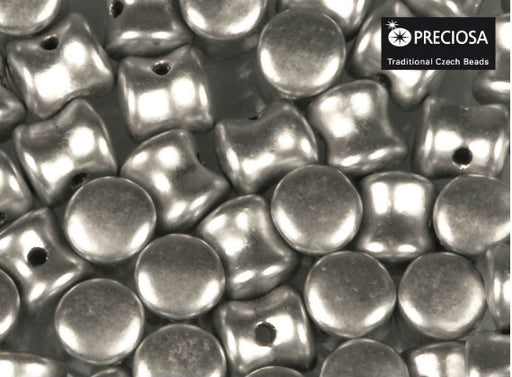 50 pcs Preciosa Pellet™ Beads, 4x6mm, Silver Aluminum, Czech Glass